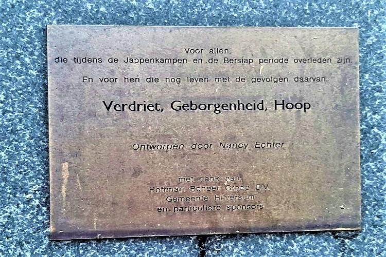 Herdenking Indië-monument in Hilversum Plaque