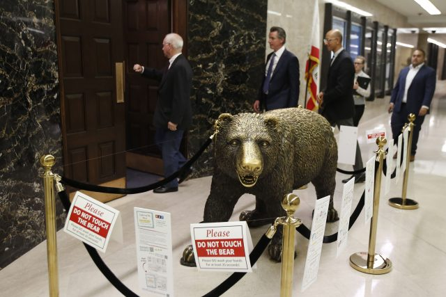 California Governor Gavin Newsom during COVID emergency session