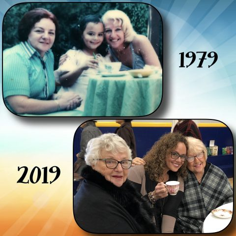 Indo Sjoekje Sas(a)bone with her mother and tante in 1979 and 2019
