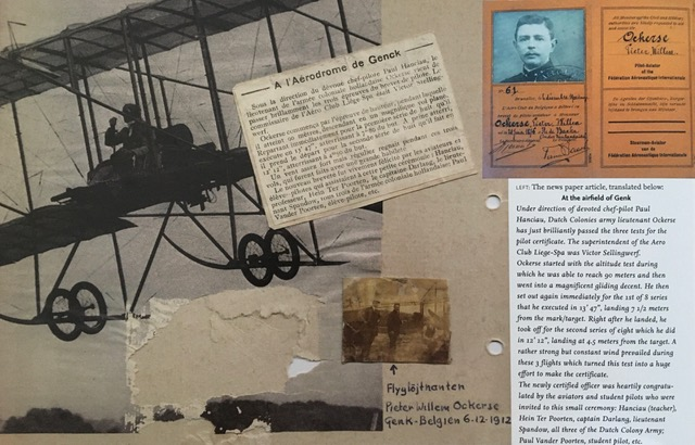Army Lt. P. W. Ockerse at Genk AirField, Belgium on December 6, 1912 taking off to begin his examination to earn the 61st Dutch pilot license, with a clipping of a French newspaper article describing his laudatory accomplishment in documentation and its translation.